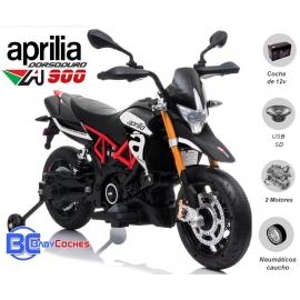 APRILIA DORSODURO 12V Moto eléctrica para niños con ruedas EVA